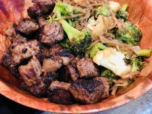Steak bites and vegetables